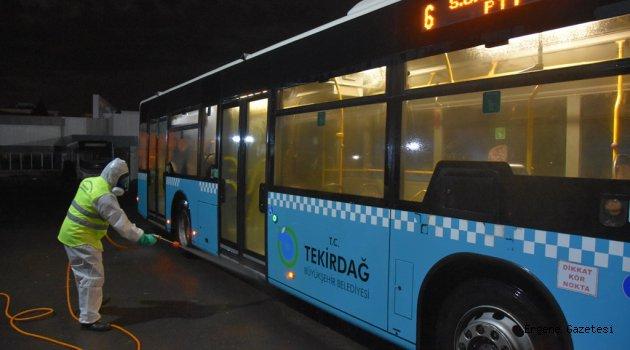 TBB Çorlu'da da Otobüsleri Salgın Hastalıklara Karşı Dezenfekte Etti